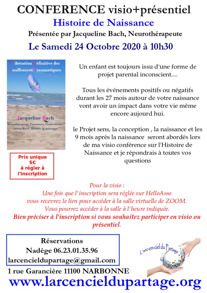 Narbonne - Conférence Histoire de naissance par Jacqueline Bach @ l'arc en ciel du partage