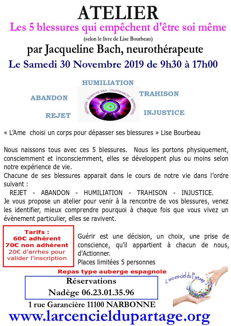 Narbonne - Atelier Les 5 blessures qui empêchent d'être Soi m'Aime @ l'arc en ciel du partage