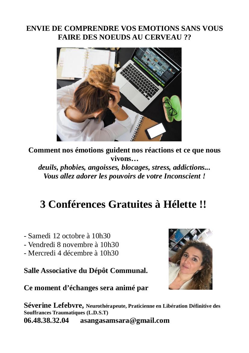 HELETTE - Conférence Libération Définitive des Souffrances Traumatiques @ salle associative du dépôt communal